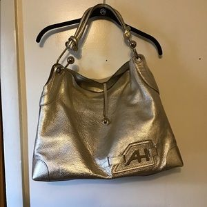 Anya Hindmarch gold leather bag